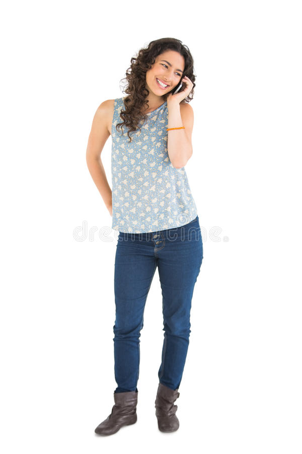 Download Cheerful Attractive Brunette On The Phone Stock Image - Image: 33030283