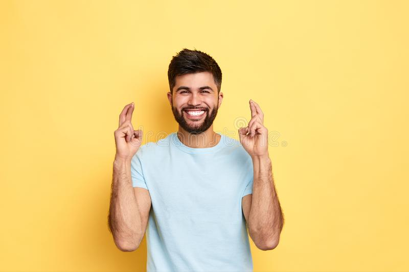 Cheerful awesome man wishes good successful business stock photos