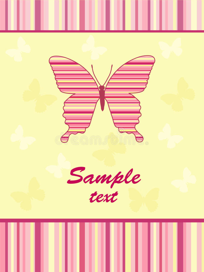 Cheerful babies card. Butterfly. Vector illustration royalty free illustration