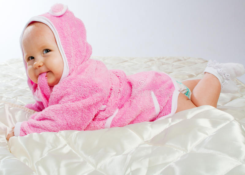 Download Cheerful baby on blanket stock photo. Image of caucasian - 9568096