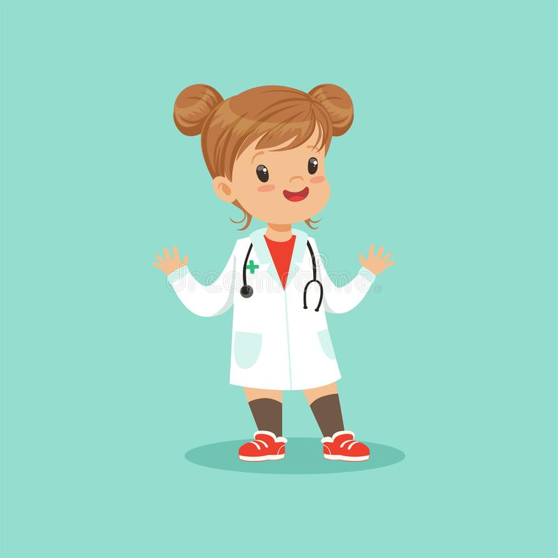 Cheerful baby girl in white medical coat and stethoscope around her neck playing doctor role, flat vector illustration. Cheerful baby girl in white medical gown stock illustration