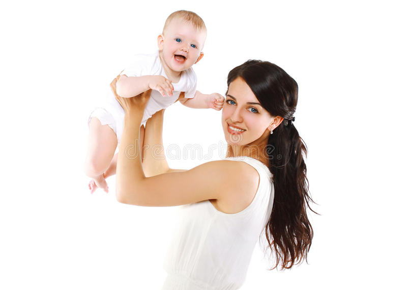 Cheerful baby and mother royalty free stock images