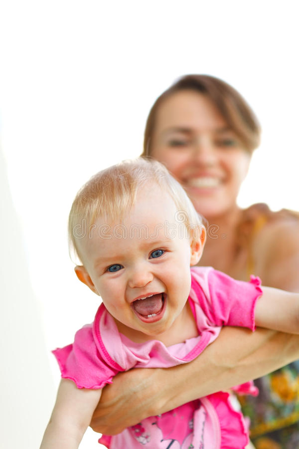 Download Cheerful Baby Playing With Mother Stock Photo - Image of infant, outdoors: 23230244