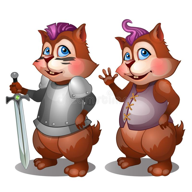 Cheerful badger in simple clothes and knight armor with sword vector illustration