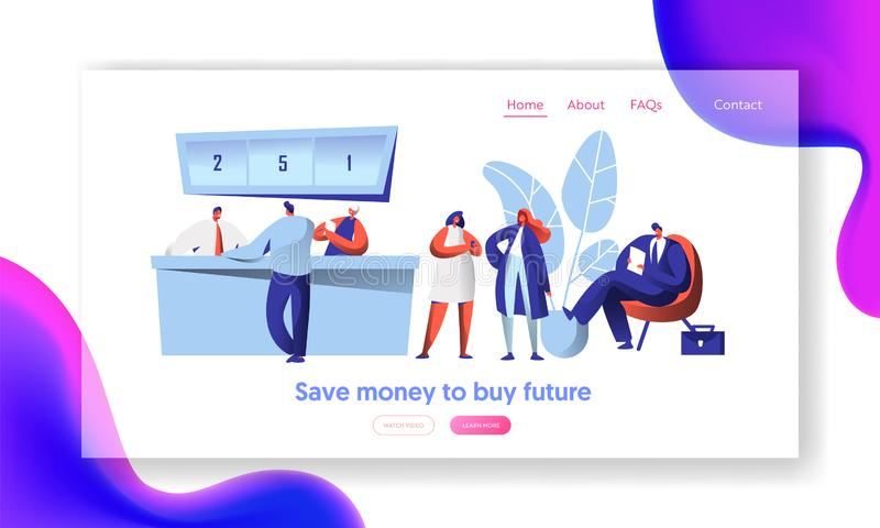 Cheerful Bank Employee and Client at Reception Desk Landing Page. Male Waiting In Line with Document. Female Character. Business Discussion Website or Web Page royalty free illustration