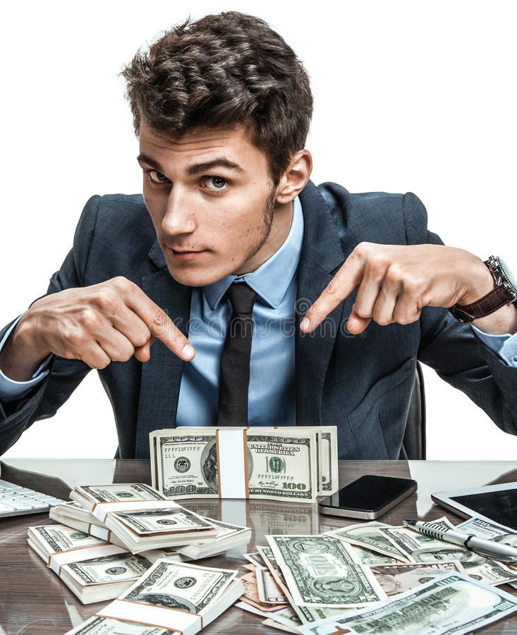 Cheerful banker showing his dividend earnings. Profit, income, gain, benefit, margin royalty free stock photo