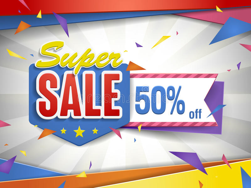 Cheerful bargain sale poster. Design with discount label stock illustration