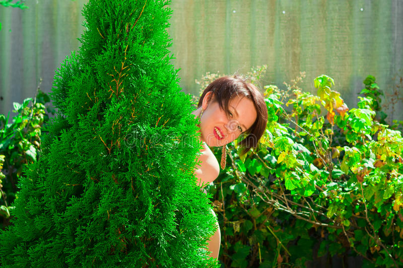 Cheerful beautiful girl looks out from behind green tree stock photos