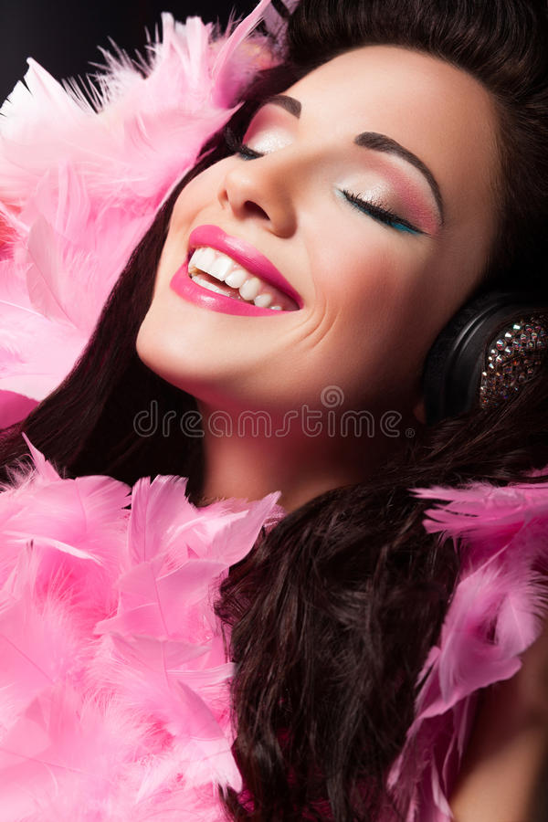 Download Cheerful Beauty Girl With Pink Feathers Having Fun - Pleasure Stock Photo - Image: 28273758