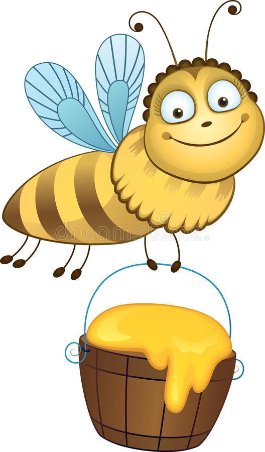 Cheerful bee carries a bucket of honey.  stock illustration