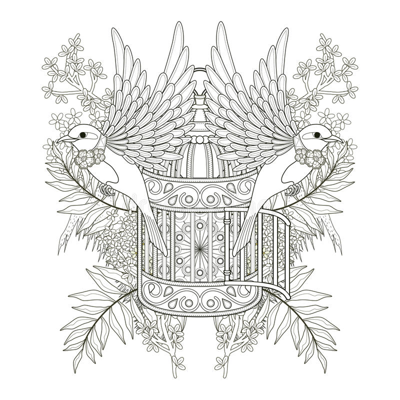 Cheerful bird coloring page royalty free illustration