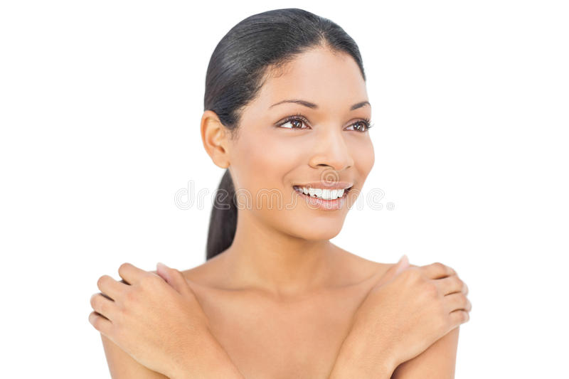 Cheerful black haired woman posing royalty free stock images