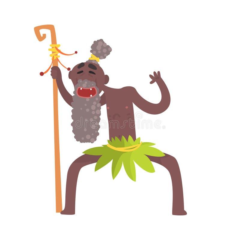 Cheerful black skinned old man aborigine of ancient tribe. Cheerful black skinned old man aborigine. Indigenous peoples of African or Australian tribe. Greybeard royalty free illustration