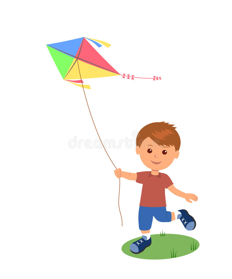Cheerful boy enjoying flying kite. vector illustration