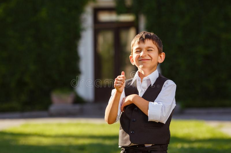 Cheerful boy in fashionable suit on green grass royalty free stock images