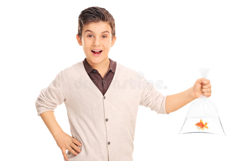 Cheerful boy holding a goldfish in a plastic bag royalty free stock photo