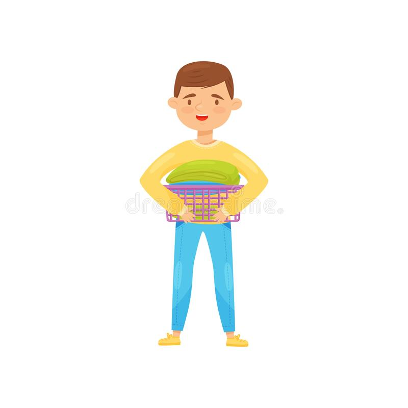 Cheerful boy holding small laundry basket with clean folded clothes. Housework and chores theme. Flat vector. Cheerful boy holding small laundry basket with vector illustration