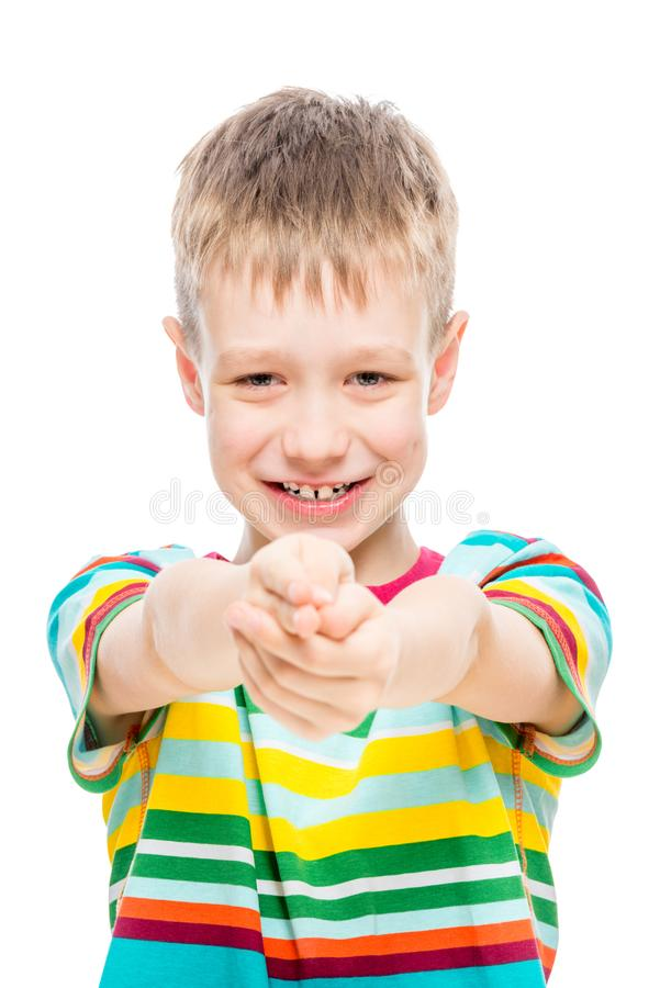 Cheerful boy 10 years old on a white background royalty free stock photos
