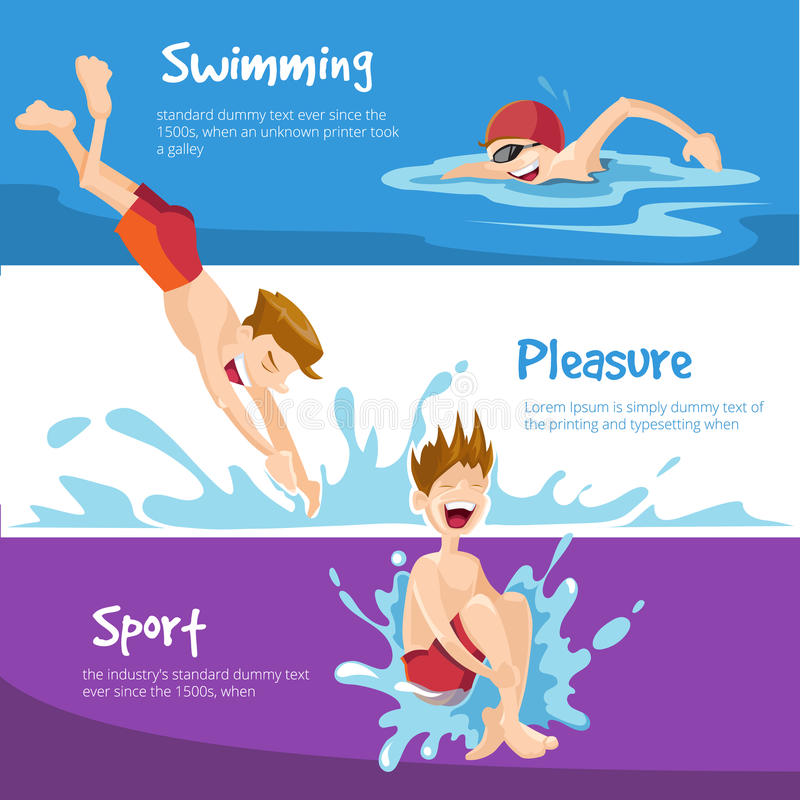 The cheerful Boys swims in the pool royalty free illustration