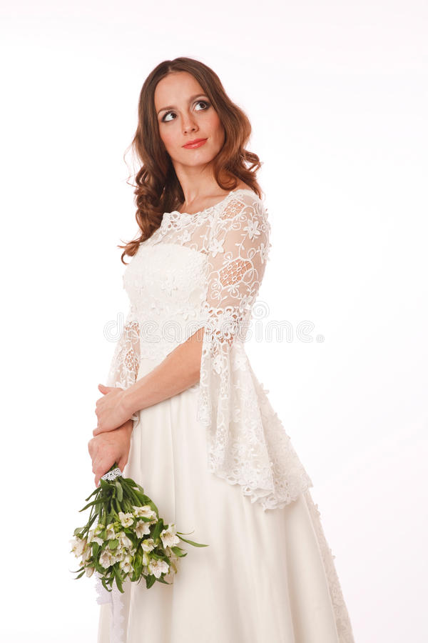 Cheerful Bride Is Looking Away Royalty Free Stock Photo