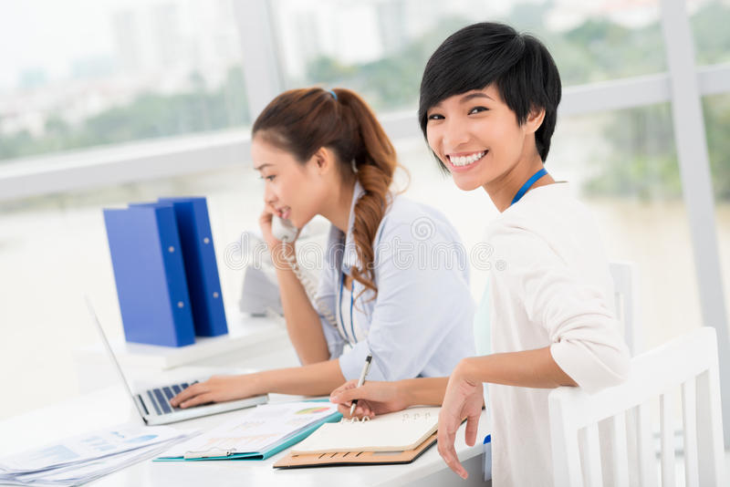 Cheerful business lady royalty free stock photos