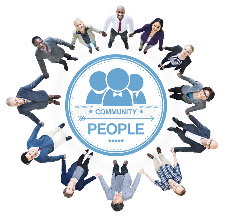 Cheerful Business People Holding Hands Forming a Circle.  stock image