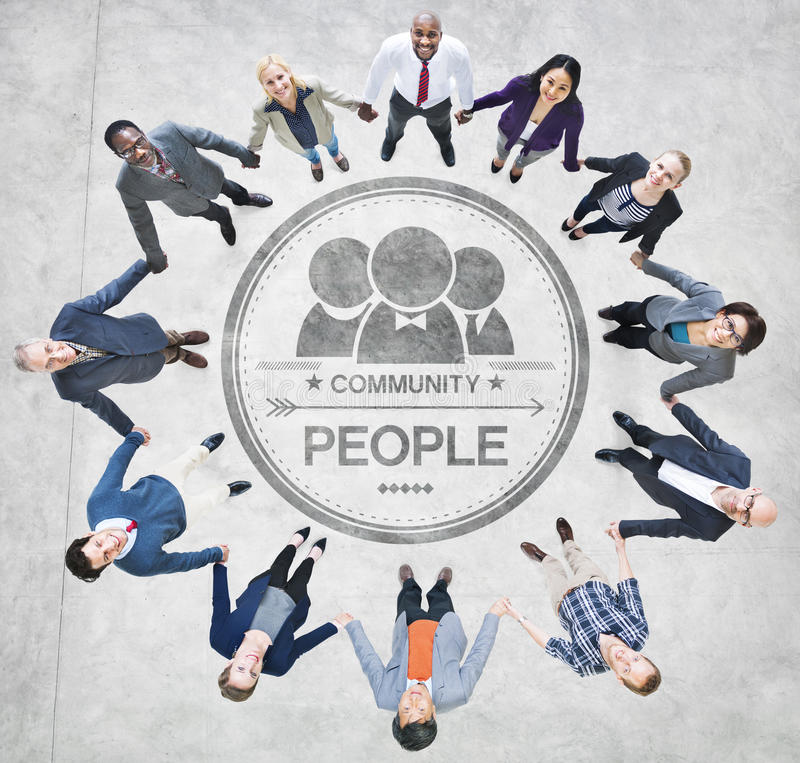 Cheerful Business People Holding Hands Forming a Circle.  royalty free stock image