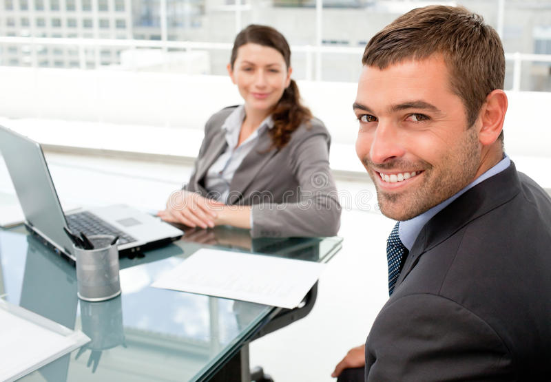 Download Cheerful Business People Working On A Laptop Stock Photo - Image: 17279160
