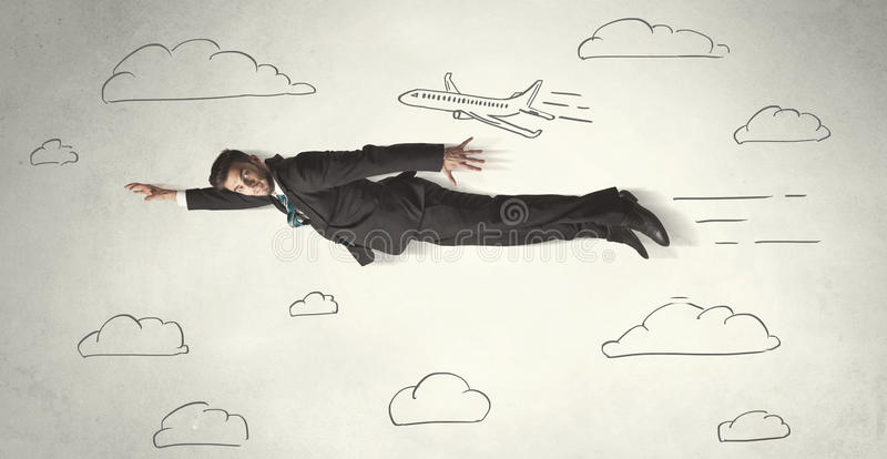 Cheerful business person flying between hand drawn sky clouds vector illustration