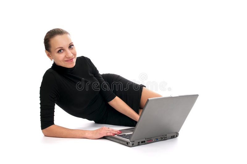 Download Cheerful Business Woman With Laptop Stock Image - Image: 13781589
