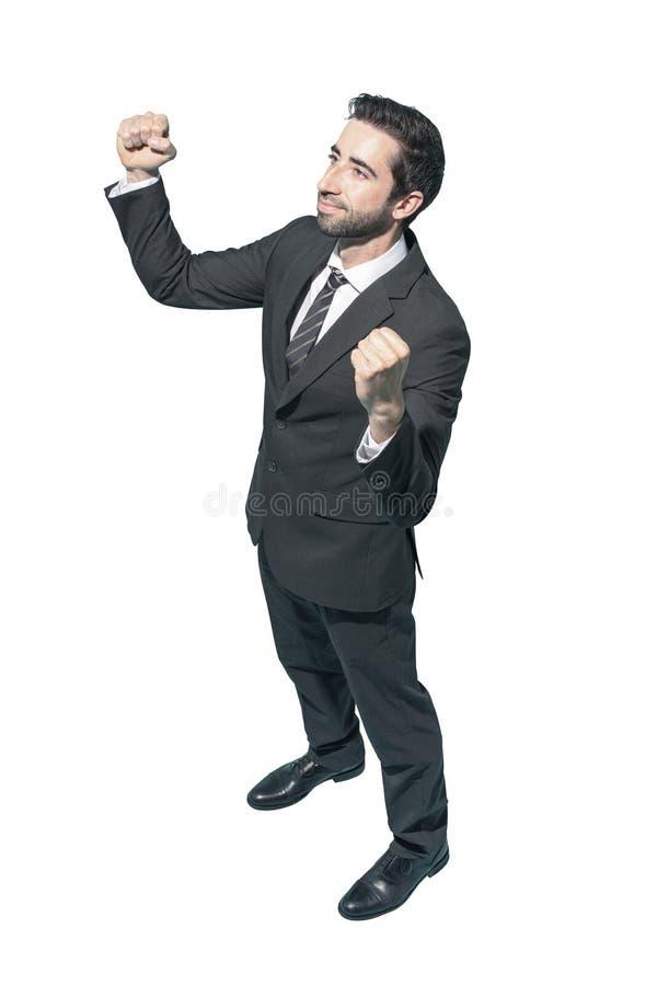 Cheerful businessman celebrating his success stock image