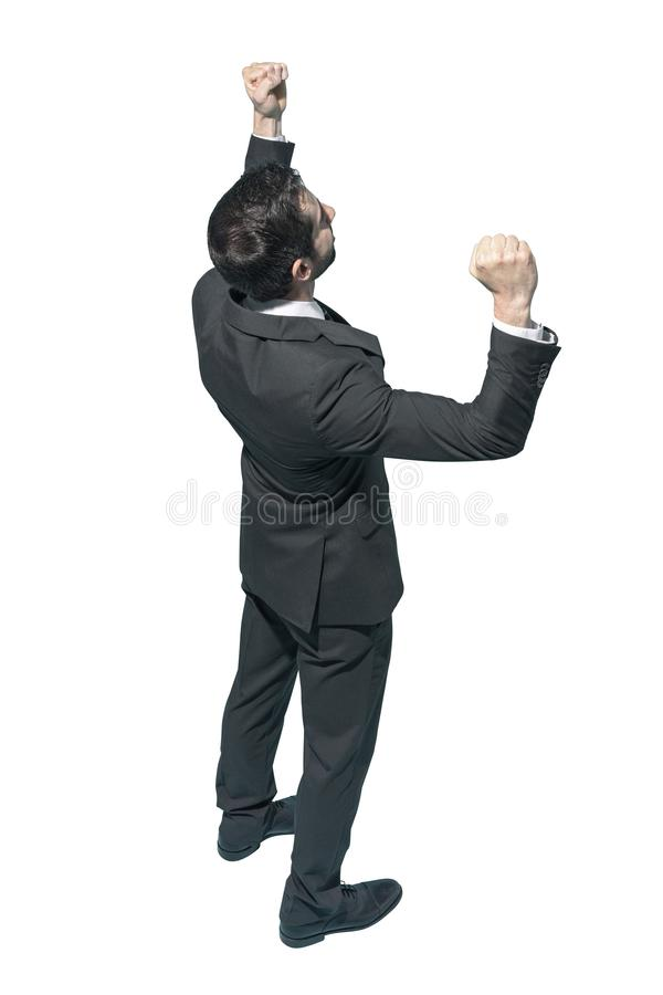 Cheerful businessman celebrating his success royalty free stock image