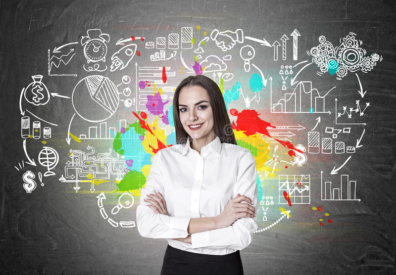 Cheerful businesswoman with crossed hands is standing near a blackboard with start up icons. vector illustration