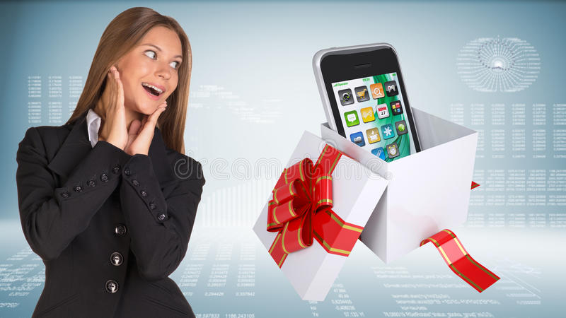 Cheerful businesswoman and open gift boxe with royalty free illustration
