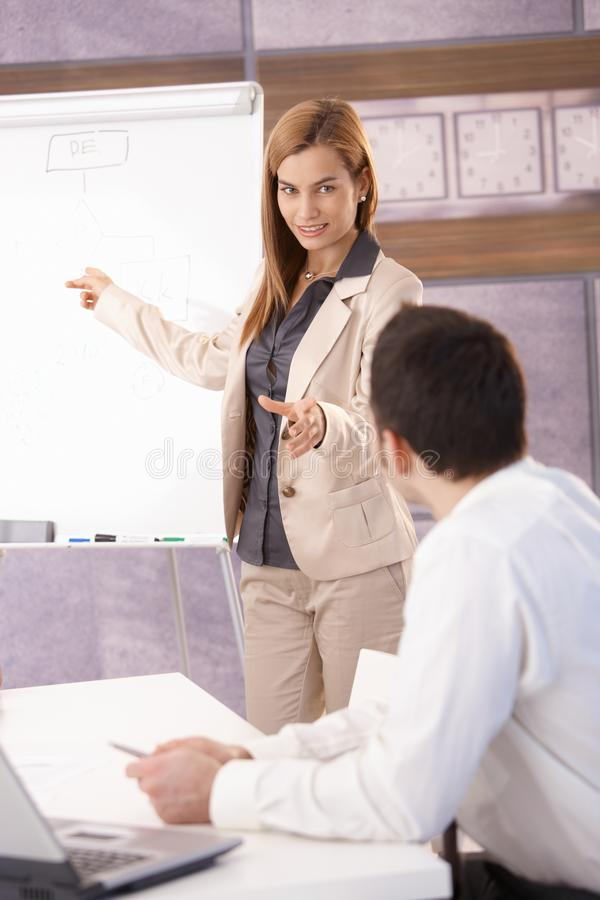 Download Cheerful Businesswoman Presenting Over Board Stock Photo - Image of board, explaining: 28432336