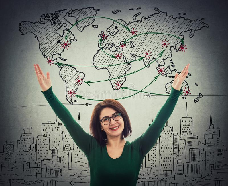 Woman celebrate success vector illustration