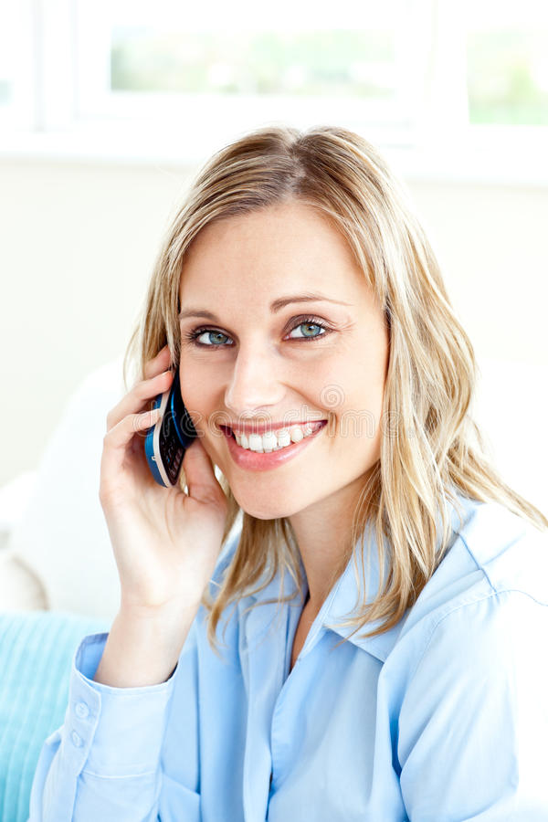 Download Cheerful Businesswoman Using Her Cellphone At Home Stock Image - Image: 15786551
