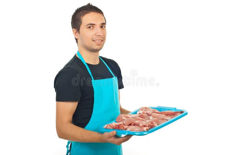 Cheerful butcher man stock photo