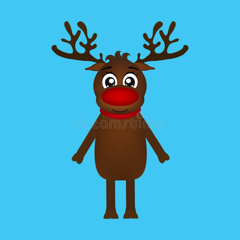 Cheerful cartoon reindeer on a blue background stock photo