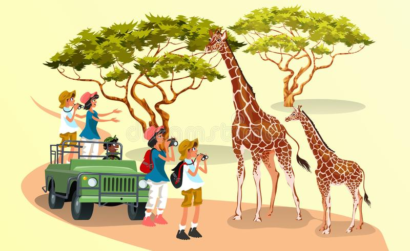 Cheerful cartoon visitors with cameras walking in nature with giraffes stock illustration