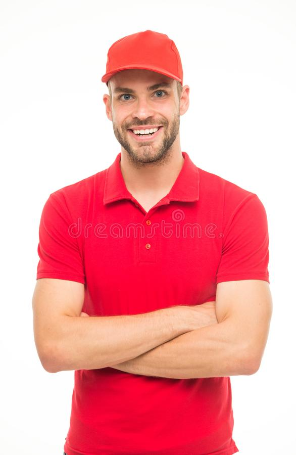 Cheerful cashier. Delivery service. Restaurant cafe staff wanted. Man unshaven hipster wear cap cashier uniform white stock images
