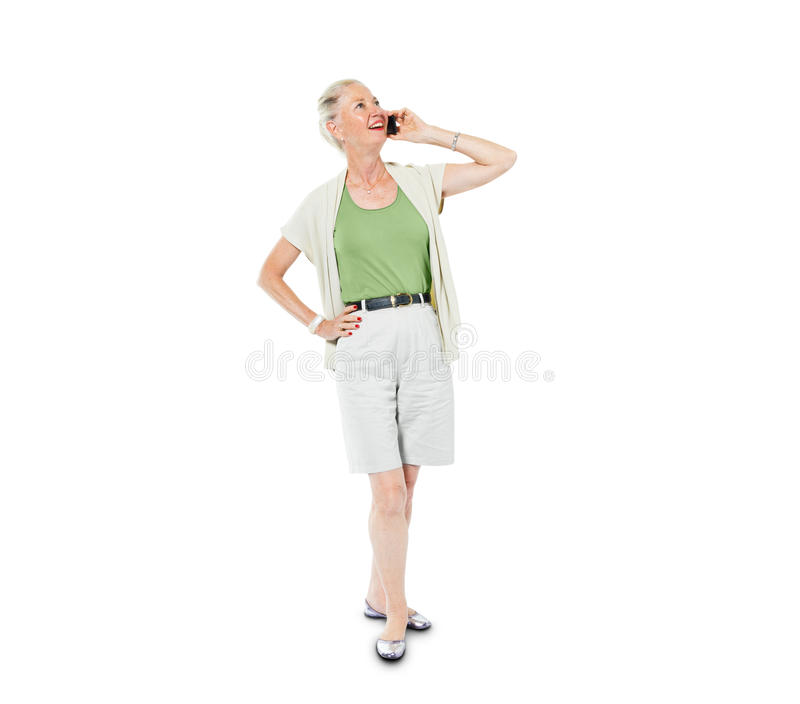 A Cheerful Casual Woman on the Phone stock images