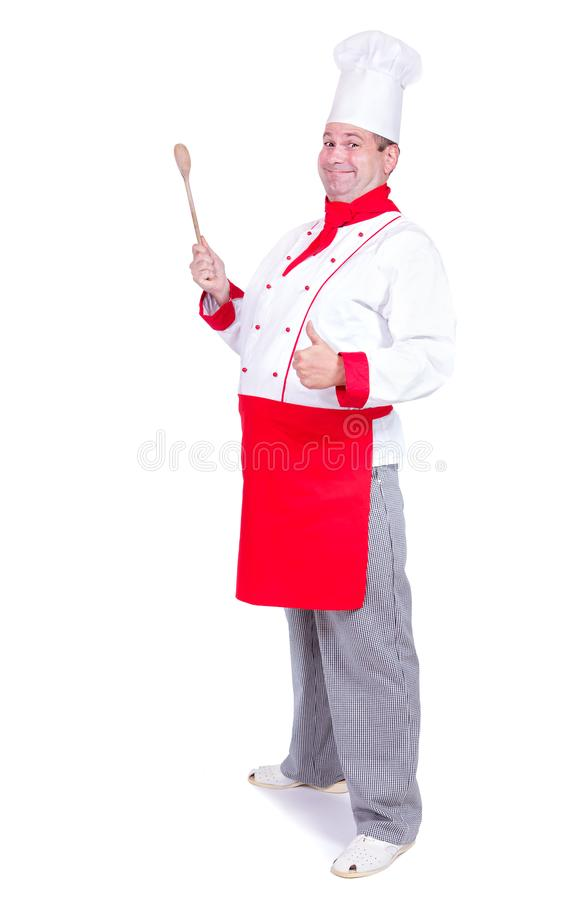 Cheerful chef standing with gesture thumb up. Isolated on white background stock photos