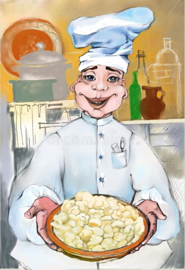 Cheerful chef who gives warmth with his smile and delicious dumplings. Graphic drawing on the tablet. A little story about a pleasant and talented chef of a vector illustration