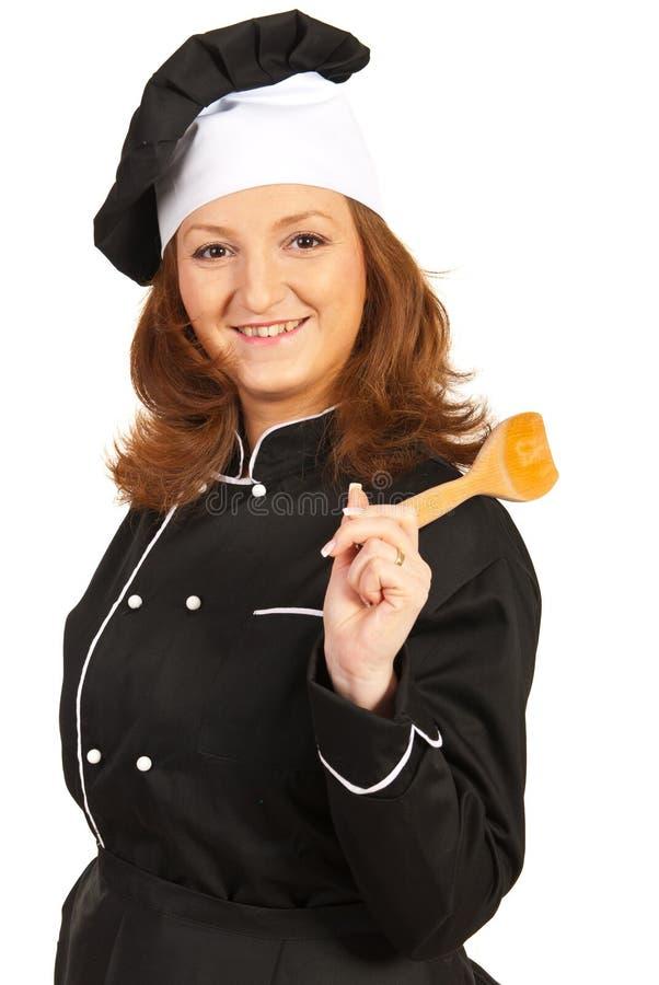 Cheerful chef woman stock photo