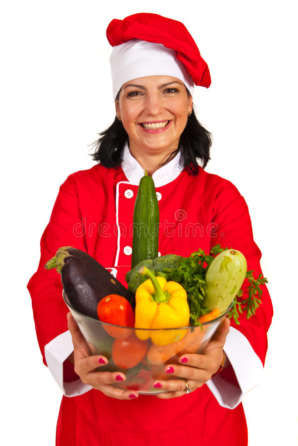 Cheerful chef woman with vegetables stock photos
