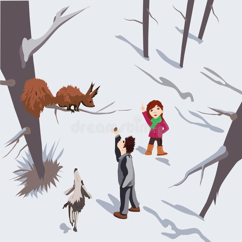 Cheerful children with a beautiful dog on vacation in nature vector illustration