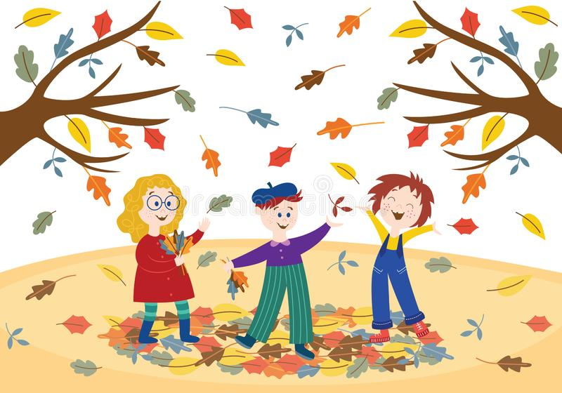 Cheerful children playing outdoors in autumn park or garden. royalty free illustration