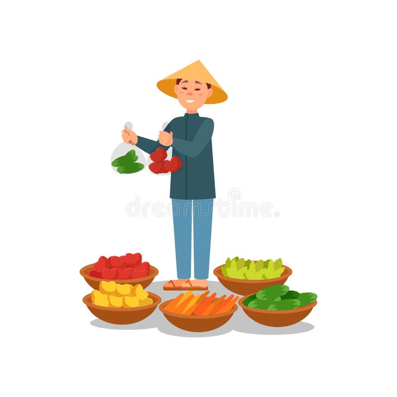Chinese farmer selling fresh vegetables and fruits. Young man in Asian conical hat. Street seller. Flat vector design royalty free illustration