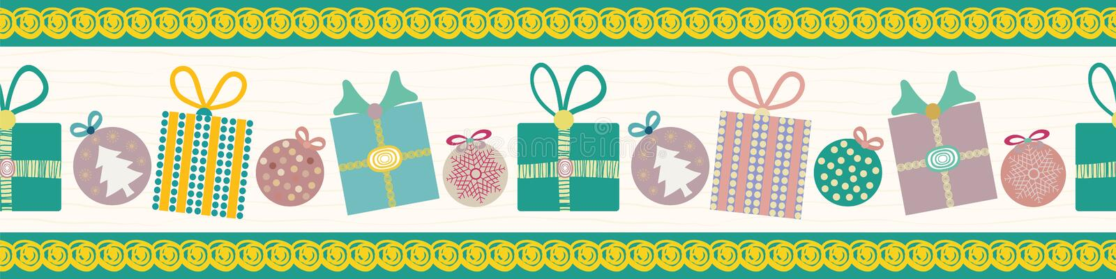 Cheerful Christmas border with hand drawn teal and dusky pink presents and baubles Seamless vector pattern on white vector illustration